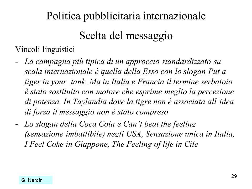 29 Politica pubblicitaria internazionale Scelta del messaggio Vincoli linguistici - La campagna più tipica di un approccio standardizzato su scala int