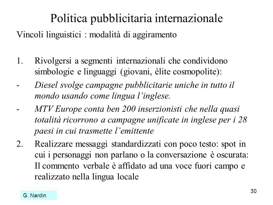 30 Politica pubblicitaria internazionale Vincoli linguistici : modalità di aggiramento 1.Rivolgersi a segmenti internazionali che condividono simbolog