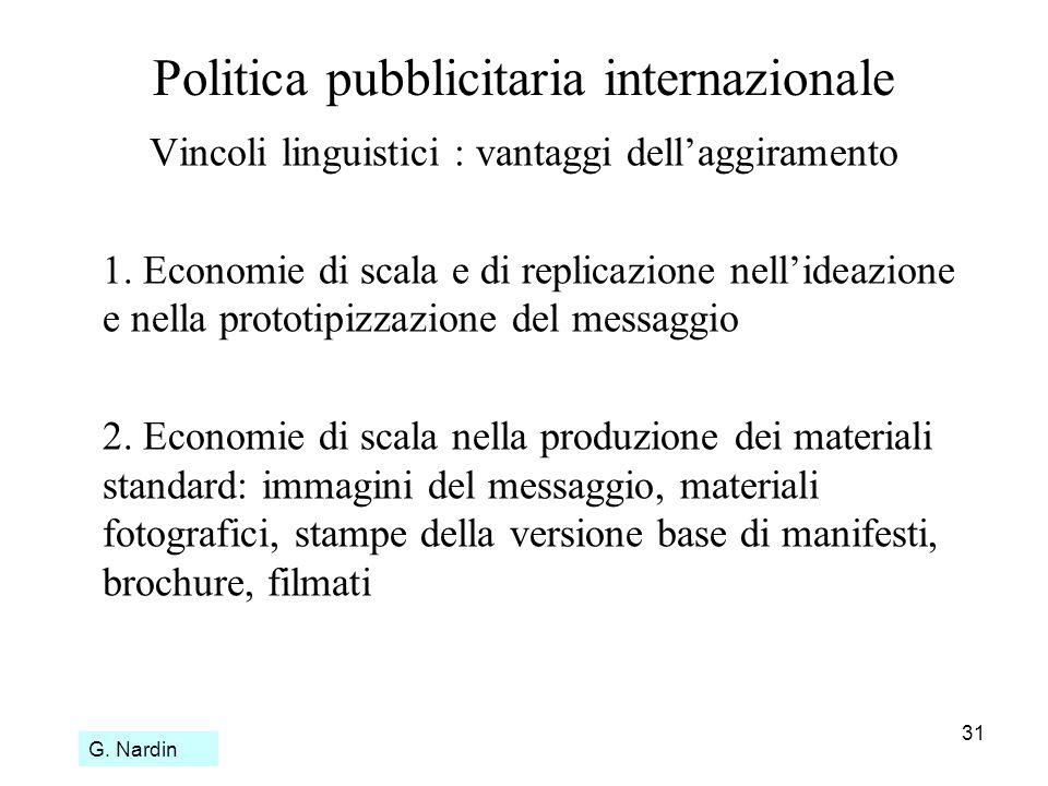 31 Politica pubblicitaria internazionale Vincoli linguistici : vantaggi dellaggiramento 1. Economie di scala e di replicazione nellideazione e nella p