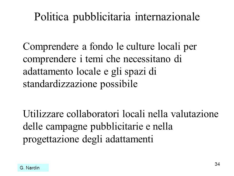 34 Politica pubblicitaria internazionale Comprendere a fondo le culture locali per comprendere i temi che necessitano di adattamento locale e gli spaz