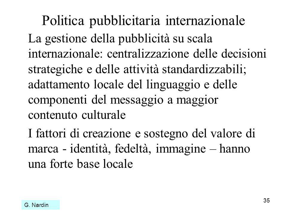 35 Politica pubblicitaria internazionale La gestione della pubblicità su scala internazionale: centralizzazione delle decisioni strategiche e delle at