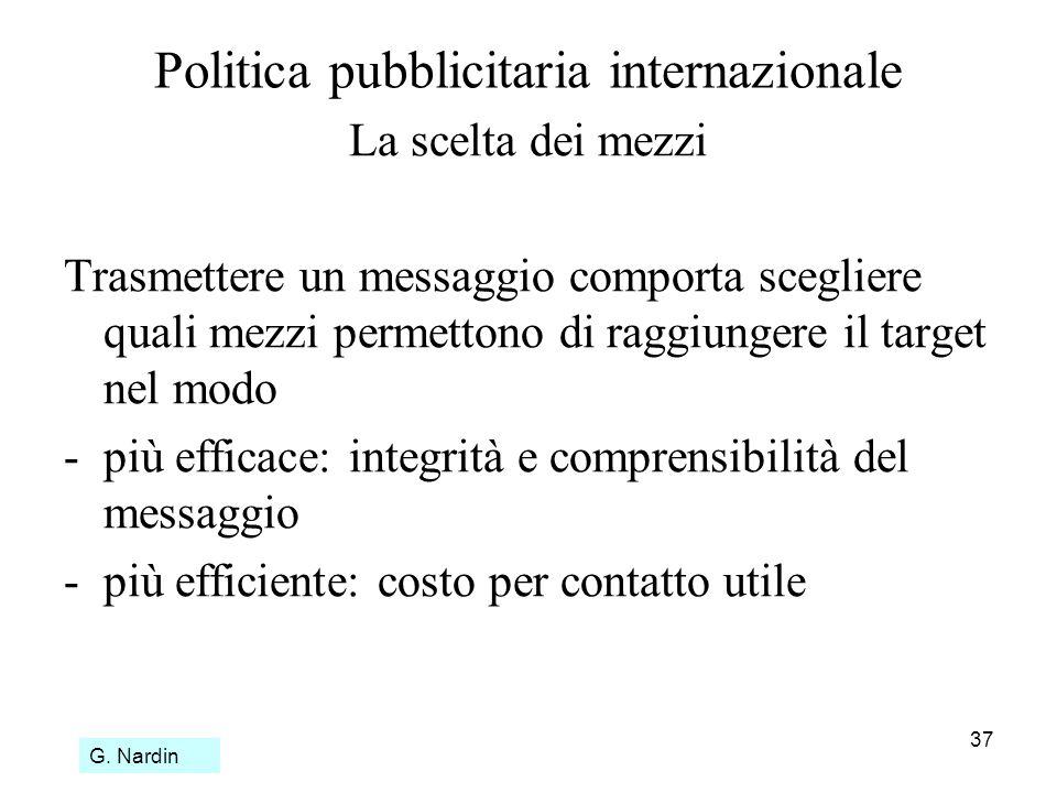 37 Politica pubblicitaria internazionale La scelta dei mezzi Trasmettere un messaggio comporta scegliere quali mezzi permettono di raggiungere il targ