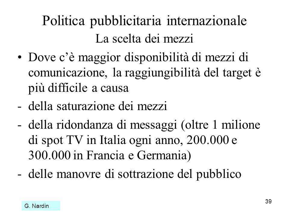 39 Politica pubblicitaria internazionale La scelta dei mezzi Dove cè maggior disponibilità di mezzi di comunicazione, la raggiungibilità del target è
