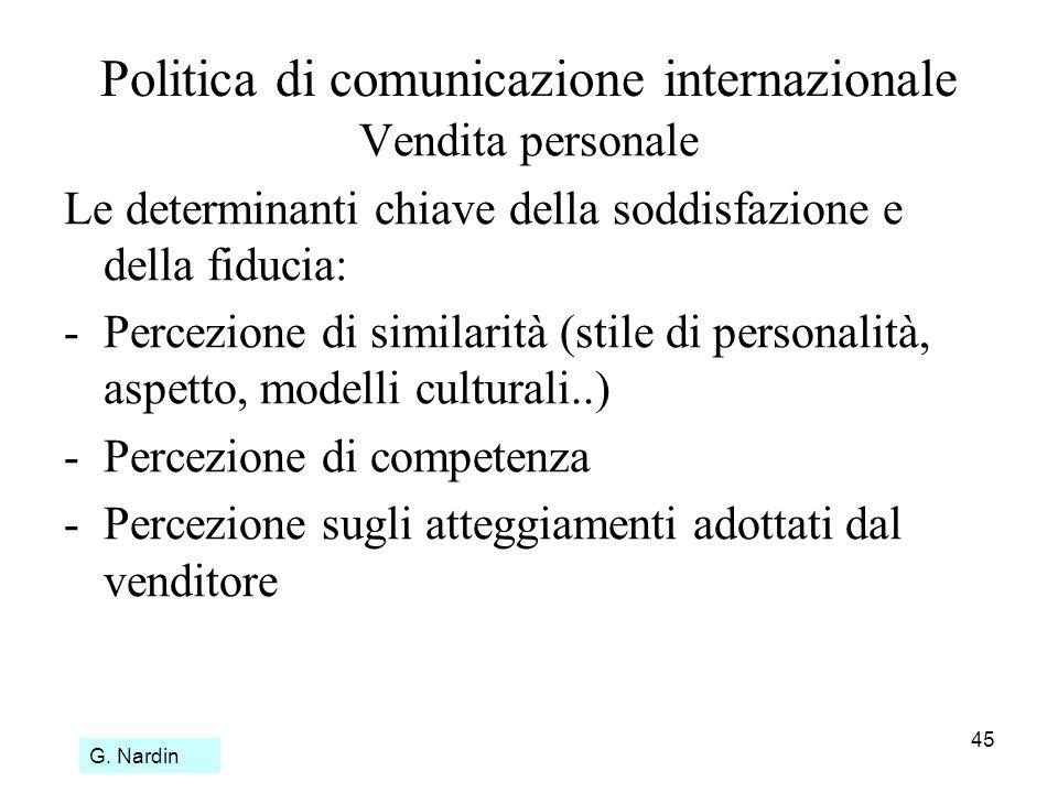 45 Politica di comunicazione internazionale Vendita personale Le determinanti chiave della soddisfazione e della fiducia: -Percezione di similarità (s