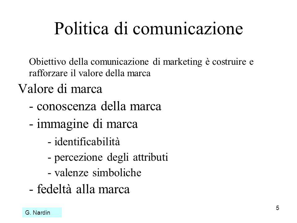 5 Politica di comunicazione Obiettivo della comunicazione di marketing è costruire e rafforzare il valore della marca Valore di marca - conoscenza del