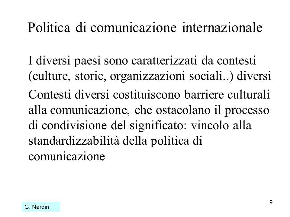9 Politica di comunicazione internazionale I diversi paesi sono caratterizzati da contesti (culture, storie, organizzazioni sociali..) diversi Contest