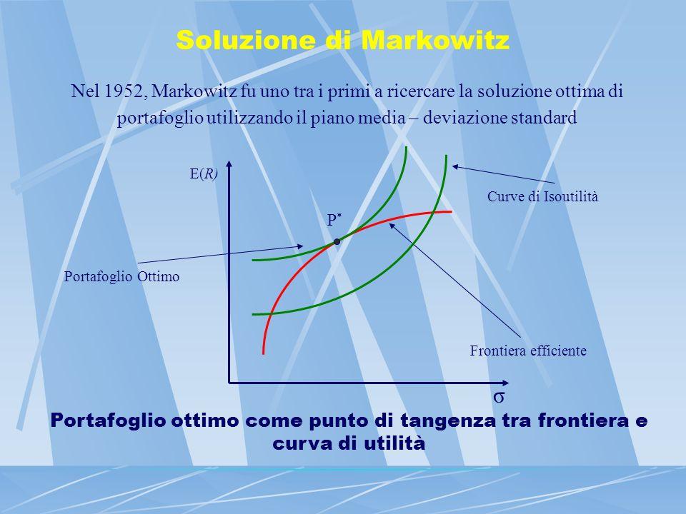 Soluzione di Markowitz Nel 1952, Markowitz fu uno tra i primi a ricercare la soluzione ottima di portafoglio utilizzando il piano media – deviazione s