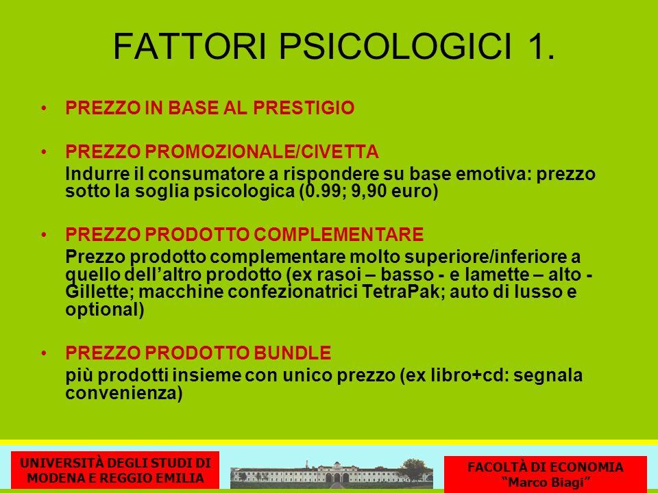FATTORI PSICOLOGICI 1. PREZZO IN BASE AL PRESTIGIO PREZZO PROMOZIONALE/CIVETTA Indurre il consumatore a rispondere su base emotiva: prezzo sotto la so