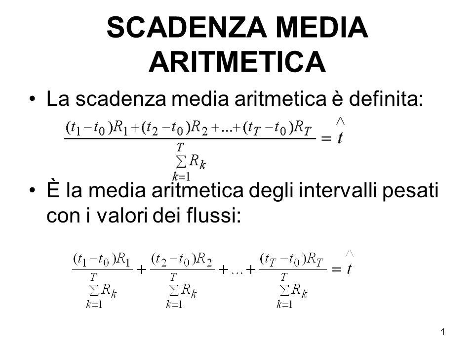 1 SCADENZA MEDIA ARITMETICA La scadenza media aritmetica è definita: È la media aritmetica degli intervalli pesati con i valori dei flussi: