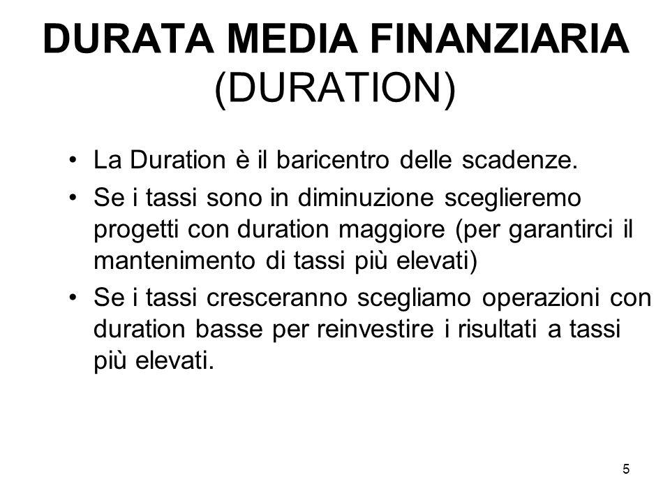 5 DURATA MEDIA FINANZIARIA (DURATION) La Duration è il baricentro delle scadenze. Se i tassi sono in diminuzione sceglieremo progetti con duration mag