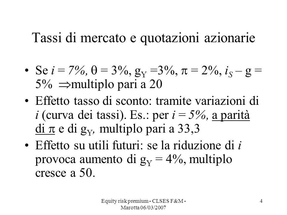 Equity risk premium - CLSES F&M - Marotta 06/03/2007 4 Tassi di mercato e quotazioni azionarie Se i = 7%, = 3%, g Y =3%, = 2%, i S – g = 5% multiplo p