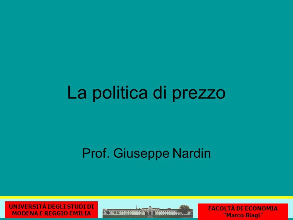 La politica di prezzo UNIVERSITÀ DEGLI STUDI DI MODENA E REGGIO EMILIA FACOLTÀ DI ECONOMIA Marco Biagi Prof.