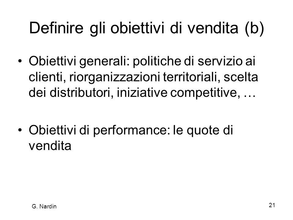 21 Definire gli obiettivi di vendita (b) Obiettivi generali: politiche di servizio ai clienti, riorganizzazioni territoriali, scelta dei distributori, iniziative competitive, … Obiettivi di performance: le quote di vendita G.
