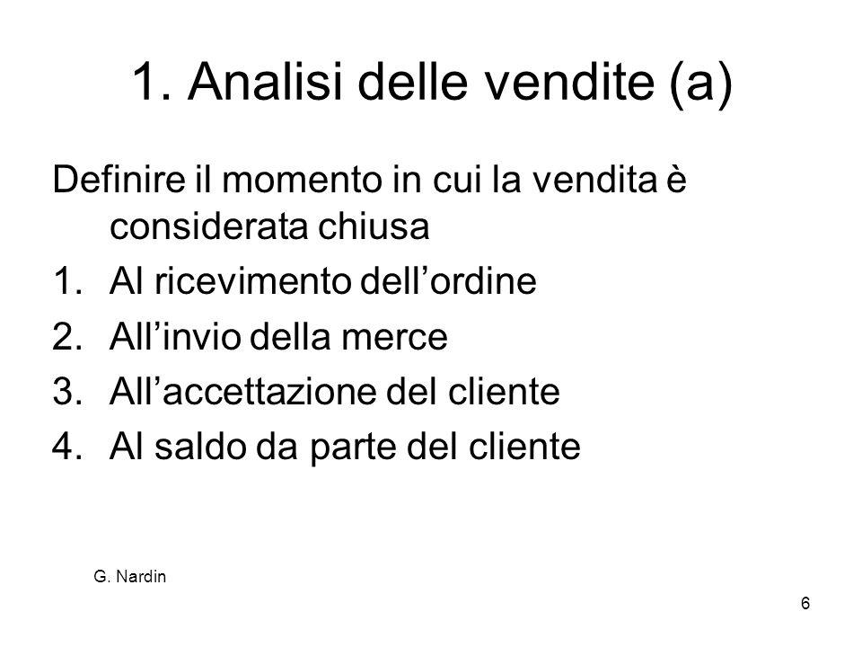 6 1. Analisi delle vendite (a) Definire il momento in cui la vendita è considerata chiusa 1.Al ricevimento dellordine 2.Allinvio della merce 3.Allacce