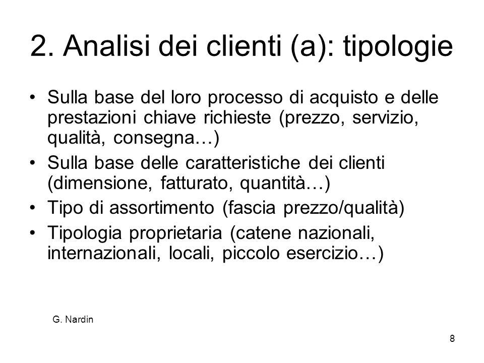 8 2. Analisi dei clienti (a): tipologie Sulla base del loro processo di acquisto e delle prestazioni chiave richieste (prezzo, servizio, qualità, cons