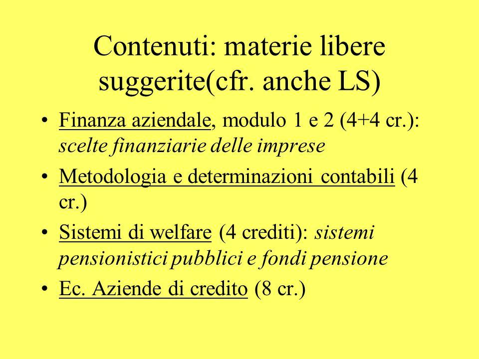 Contenuti: materie libere suggerite(cfr. anche LS) Finanza aziendale, modulo 1 e 2 (4+4 cr.): scelte finanziarie delle imprese Metodologia e determina