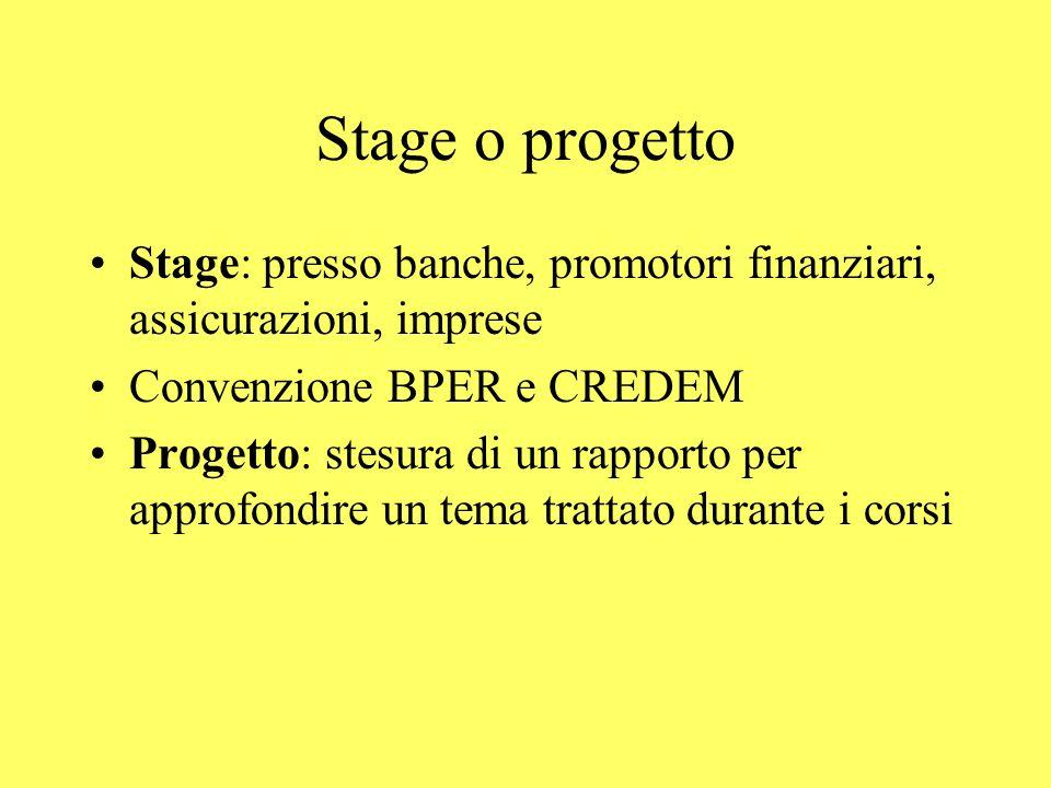 Stage o progetto Stage: presso banche, promotori finanziari, assicurazioni, imprese Convenzione BPER e CREDEM Progetto: stesura di un rapporto per app
