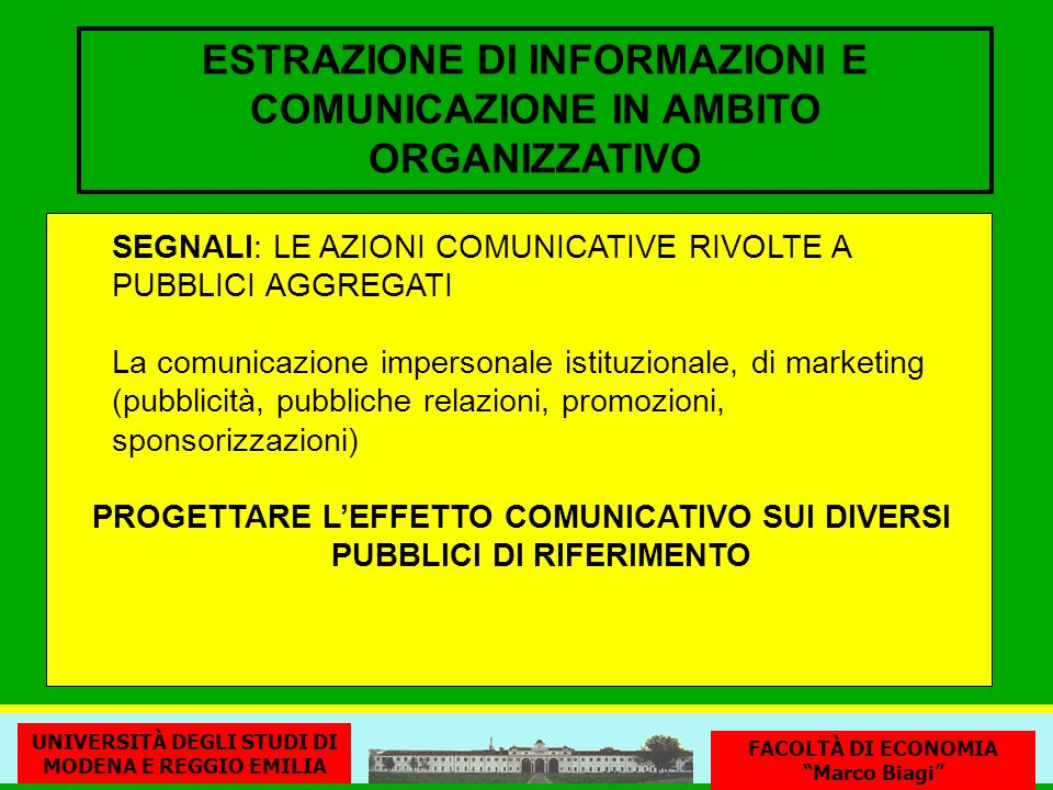ESTRAZIONE DI INFORMAZIONI E COMUNICAZIONE IN AMBITO ORGANIZZATIVO SEGNALI: LE AZIONI COMUNICATIVE RIVOLTE A PUBBLICI AGGREGATI La comunicazione impersonale istituzionale, di marketing (pubblicità, pubbliche relazioni, promozioni, sponsorizzazioni) PROGETTARE LEFFETTO COMUNICATIVO SUI DIVERSI PUBBLICI DI RIFERIMENTO UNIVERSITÀ DEGLI STUDI DI MODENA E REGGIO EMILIA FACOLTÀ DI ECONOMIA Marco Biagi