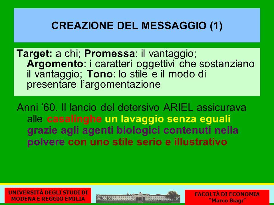 CREAZIONE DEL MESSAGGIO (1) Target: a chi; Promessa: il vantaggio; Argomento: i caratteri oggettivi che sostanziano il vantaggio; Tono: lo stile e il modo di presentare largomentazione Anni 60.