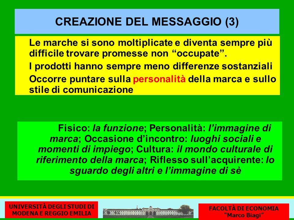 CREAZIONE DEL MESSAGGIO (3) Le marche si sono moltiplicate e diventa sempre più difficile trovare promesse non occupate. I prodotti hanno sempre meno
