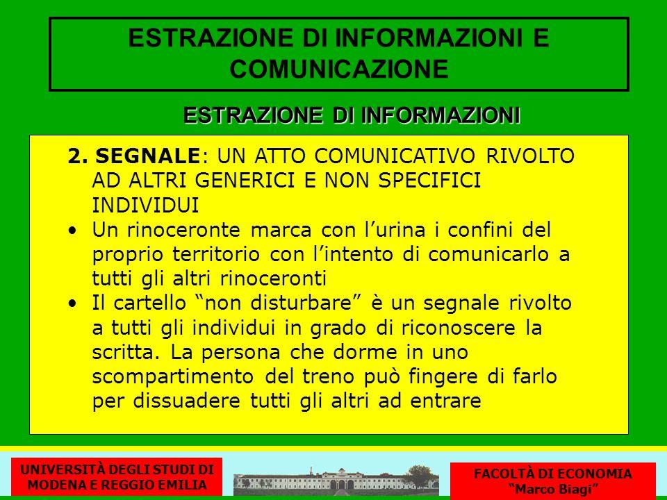ESTRAZIONE DI INFORMAZIONI E COMUNICAZIONE 2. SEGNALE: UN ATTO COMUNICATIVO RIVOLTO AD ALTRI GENERICI E NON SPECIFICI INDIVIDUI Un rinoceronte marca c