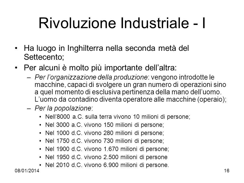 08/01/201416 Rivoluzione Industriale - I Ha luogo in Inghilterra nella seconda metà del Settecento; Per alcuni è molto più importante dellaltra: –Per