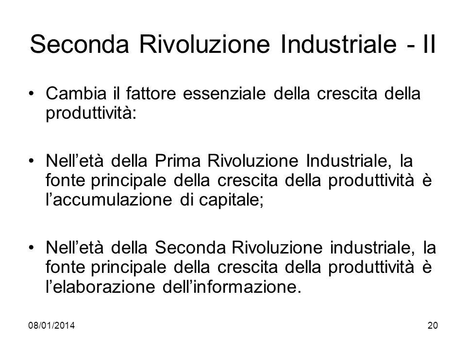 08/01/201420 Seconda Rivoluzione Industriale - II Cambia il fattore essenziale della crescita della produttività: Nelletà della Prima Rivoluzione Indu