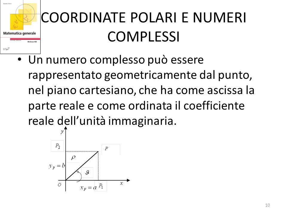 COORDINATE POLARI E NUMERI COMPLESSI Un numero complesso può essere rappresentato geometricamente dal punto, nel piano cartesiano, che ha come ascissa la parte reale e come ordinata il coefficiente reale dellunità immaginaria.