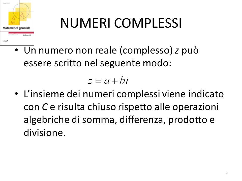 NUMERI COMPLESSI Un numero non reale (complesso) z può essere scritto nel seguente modo: Linsieme dei numeri complessi viene indicato con C e risulta chiuso rispetto alle operazioni algebriche di somma, differenza, prodotto e divisione.
