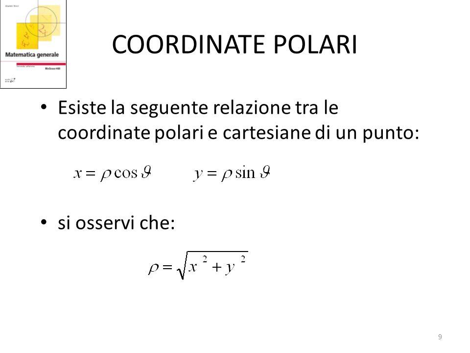 COORDINATE POLARI Esiste la seguente relazione tra le coordinate polari e cartesiane di un punto: si osservi che: 9