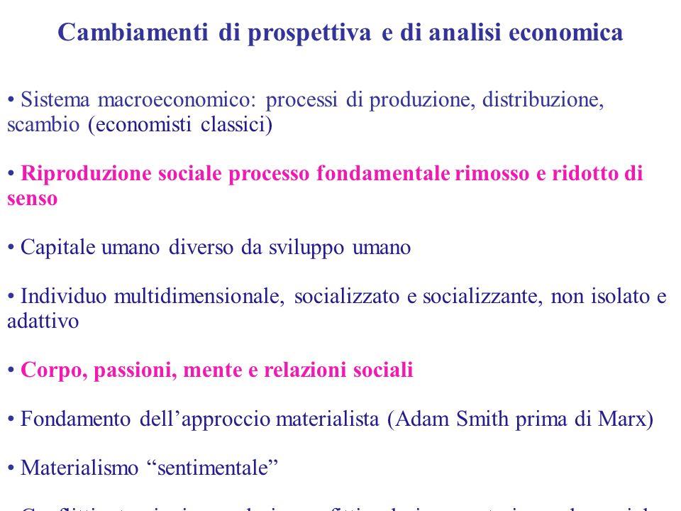 Cambiamenti di prospettiva e di analisi economica Sistema macroeconomico: processi di produzione, distribuzione, scambio (economisti classici) Riprodu