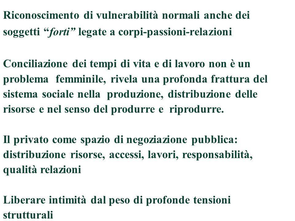 Riconoscimento di vulnerabilità normali anche dei soggetti forti legate a corpi-passioni-relazioni Conciliazione dei tempi di vita e di lavoro non è u