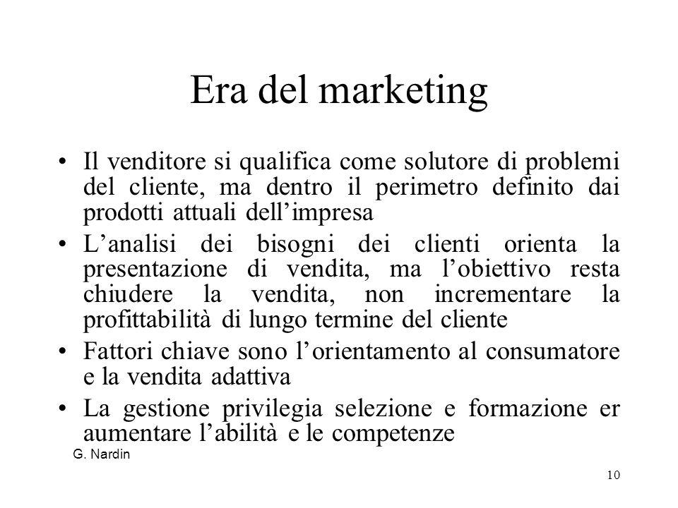 10 Era del marketing Il venditore si qualifica come solutore di problemi del cliente, ma dentro il perimetro definito dai prodotti attuali dellimpresa