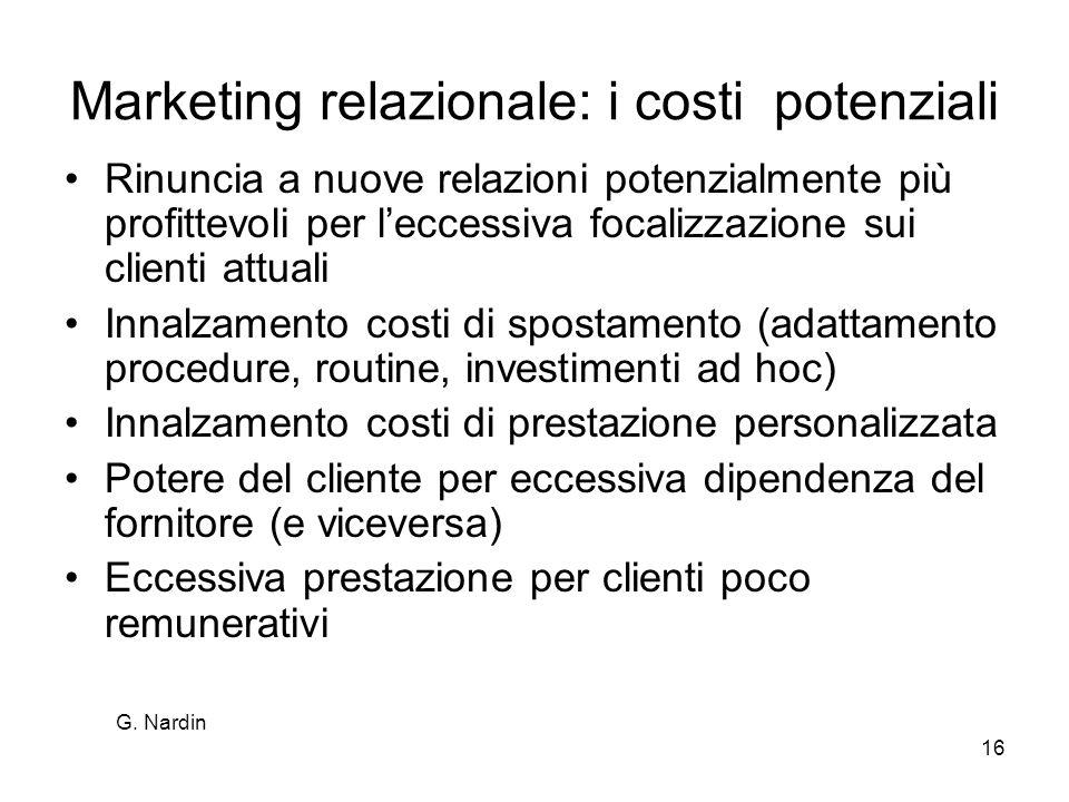 G. Nardin 16 Marketing relazionale: i costi potenziali Rinuncia a nuove relazioni potenzialmente più profittevoli per leccessiva focalizzazione sui cl