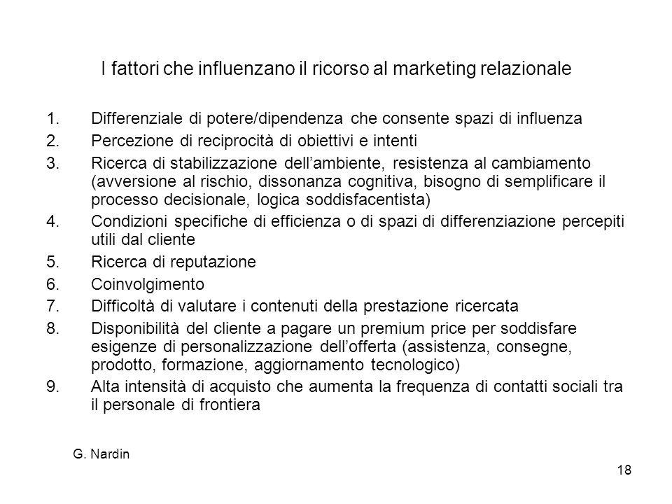 G. Nardin 18 I fattori che influenzano il ricorso al marketing relazionale 1.Differenziale di potere/dipendenza che consente spazi di influenza 2.Perc