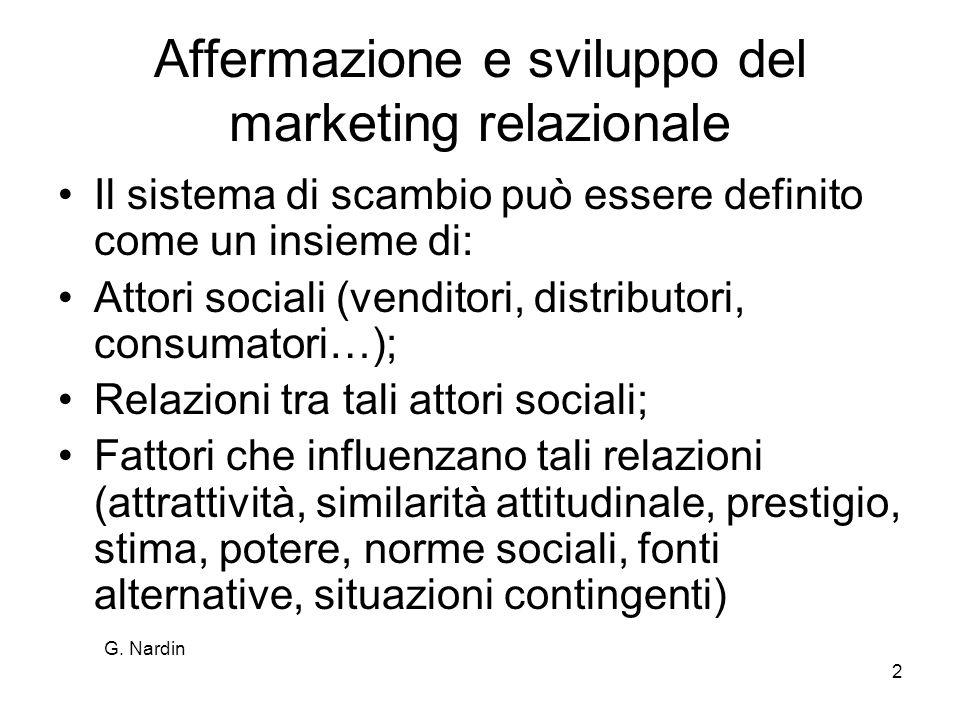 G. Nardin 2 Affermazione e sviluppo del marketing relazionale Il sistema di scambio può essere definito come un insieme di: Attori sociali (venditori,