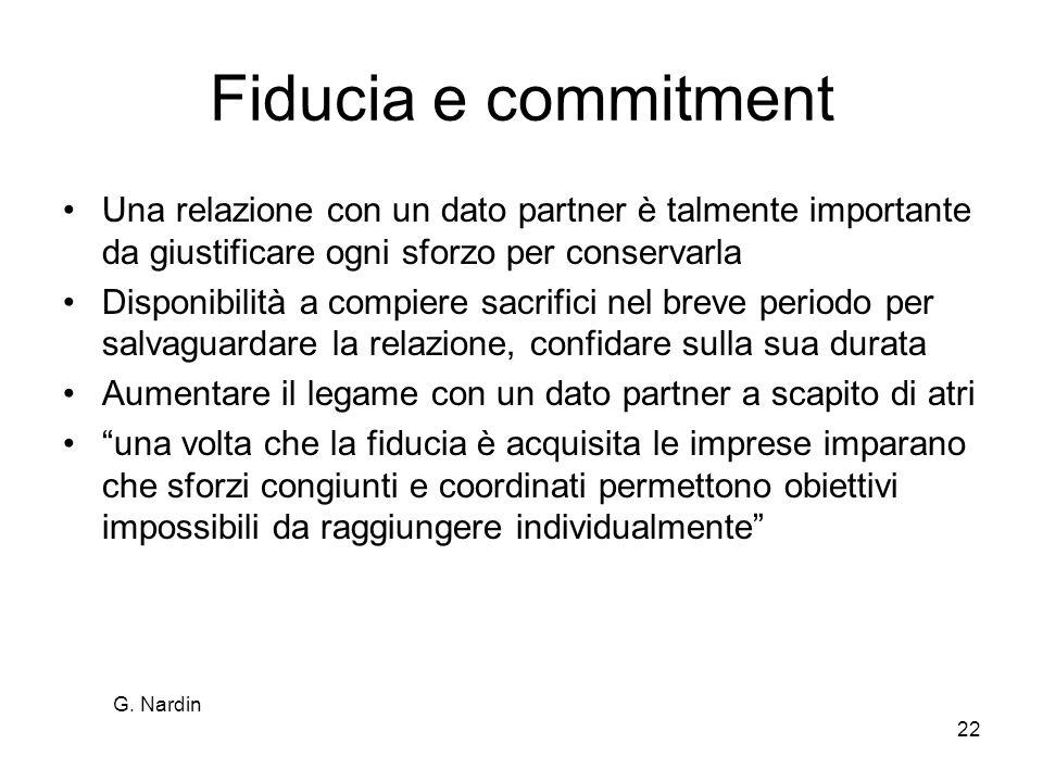 G. Nardin 22 Fiducia e commitment Una relazione con un dato partner è talmente importante da giustificare ogni sforzo per conservarla Disponibilità a