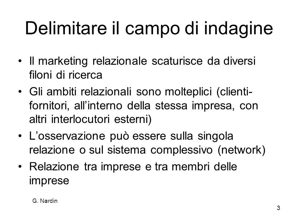 G. Nardin 3 Delimitare il campo di indagine Il marketing relazionale scaturisce da diversi filoni di ricerca Gli ambiti relazionali sono molteplici (c