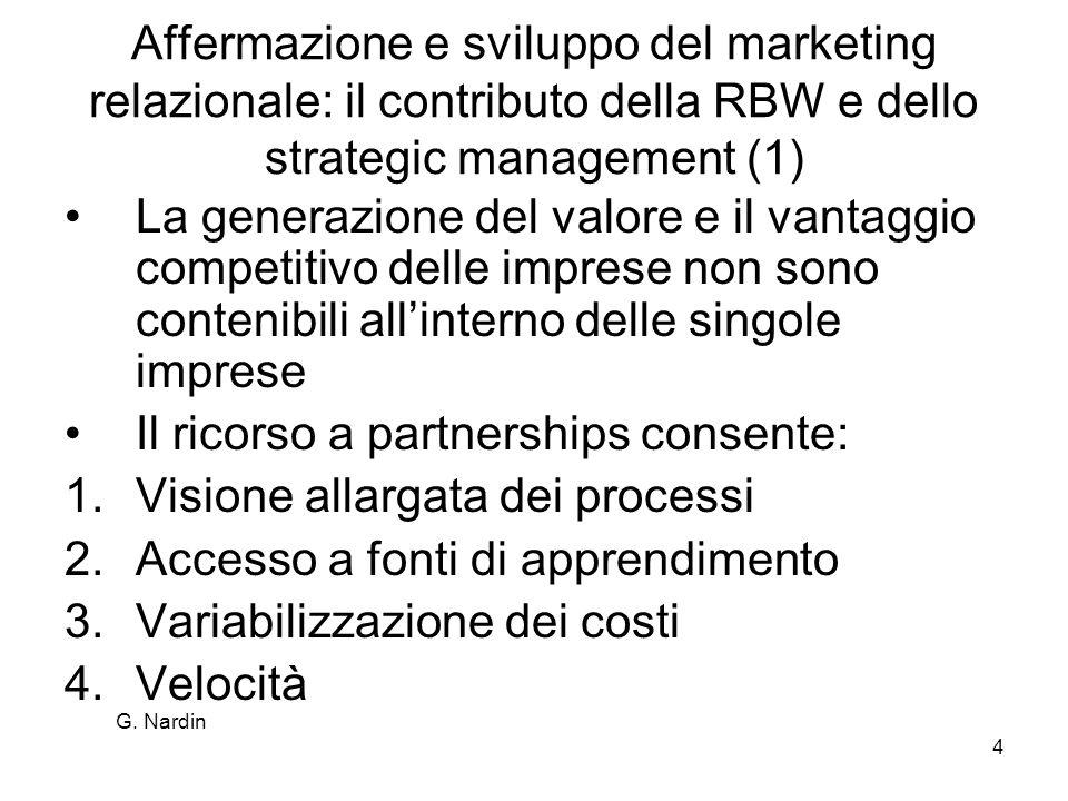G. Nardin 4 Affermazione e sviluppo del marketing relazionale: il contributo della RBW e dello strategic management (1) La generazione del valore e il