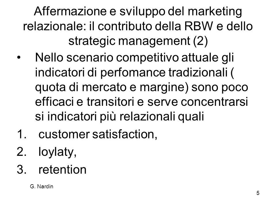 G. Nardin 5 Affermazione e sviluppo del marketing relazionale: il contributo della RBW e dello strategic management (2) Nello scenario competitivo att