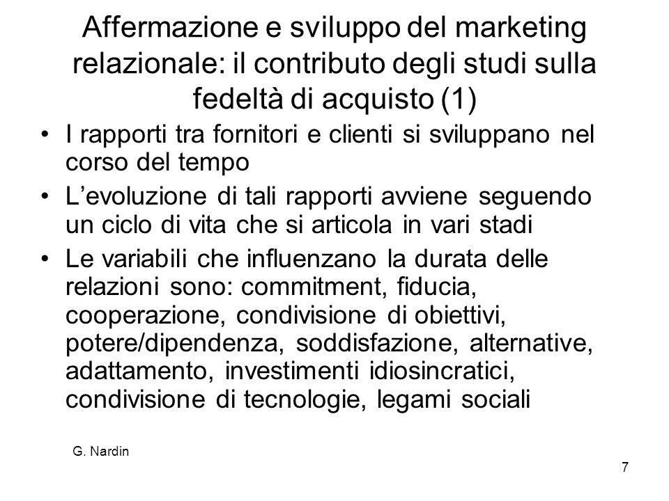 G. Nardin 7 Affermazione e sviluppo del marketing relazionale: il contributo degli studi sulla fedeltà di acquisto (1) I rapporti tra fornitori e clie