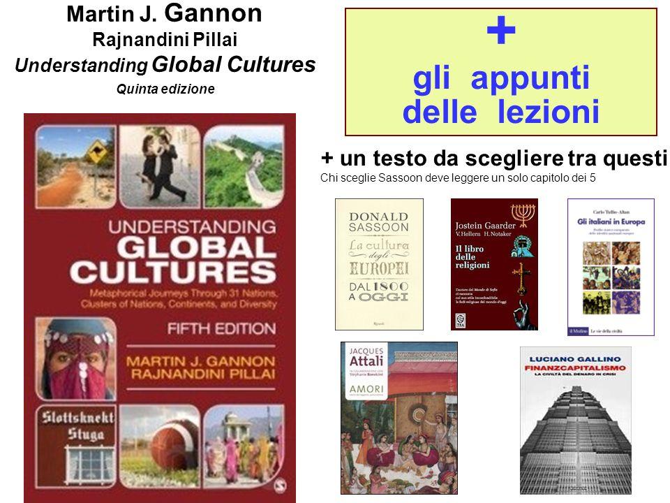 1 + gli appunti delle lezioni Martin J. Gannon Rajnandini Pillai Understanding Global Cultures Quinta edizione + un testo da scegliere tra questi Chi