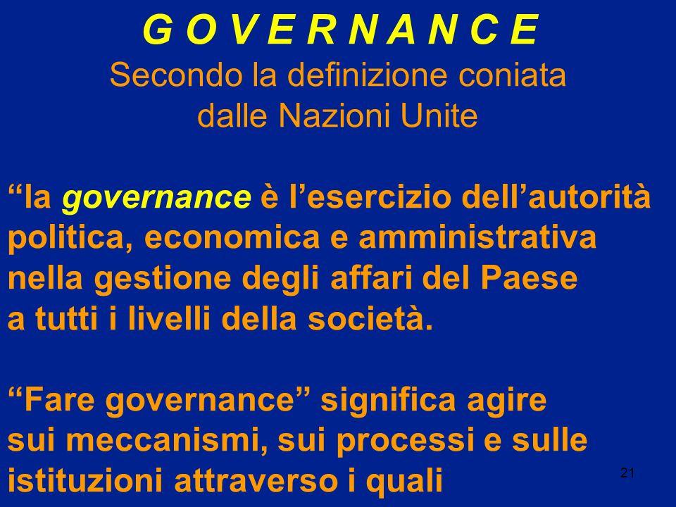 21 G O V E R N A N C E Secondo la definizione coniata dalle Nazioni Unite la governance è lesercizio dellautorità politica, economica e amministrativa
