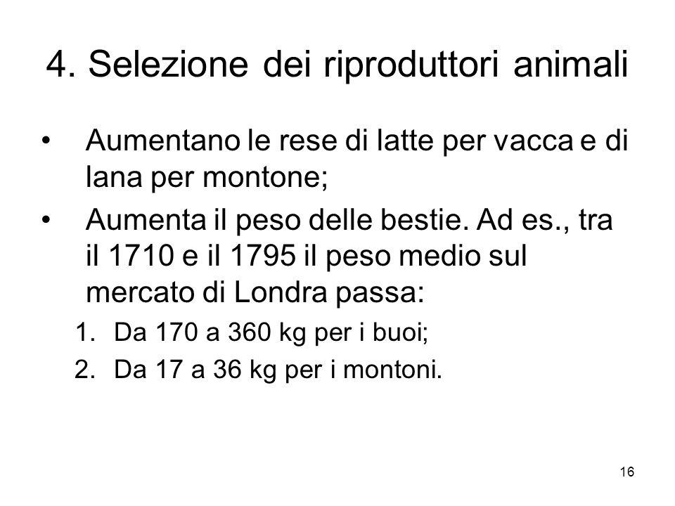 16 4. Selezione dei riproduttori animali Aumentano le rese di latte per vacca e di lana per montone; Aumenta il peso delle bestie. Ad es., tra il 1710