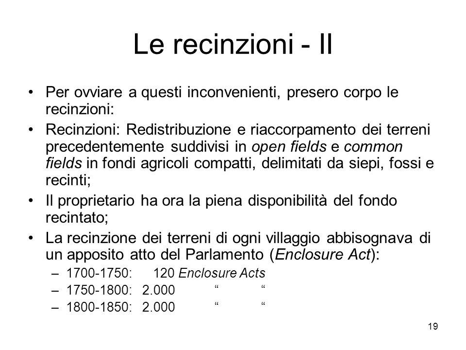19 Le recinzioni - II Per ovviare a questi inconvenienti, presero corpo le recinzioni: Recinzioni: Redistribuzione e riaccorpamento dei terreni preced