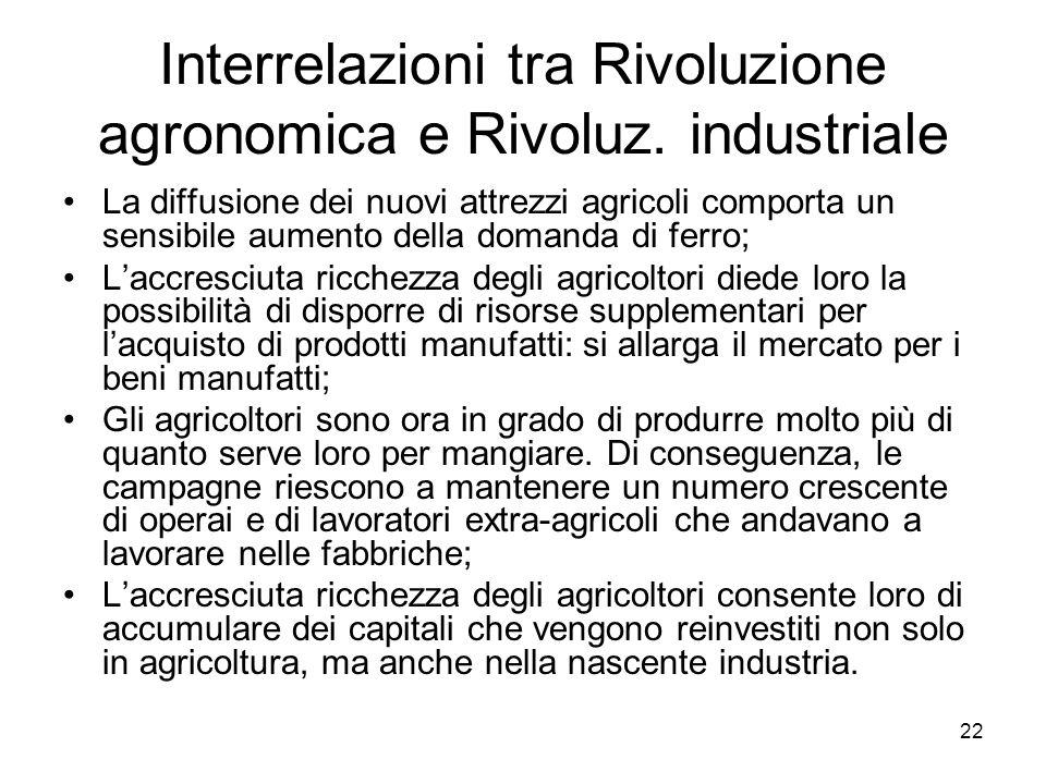 22 Interrelazioni tra Rivoluzione agronomica e Rivoluz. industriale La diffusione dei nuovi attrezzi agricoli comporta un sensibile aumento della doma