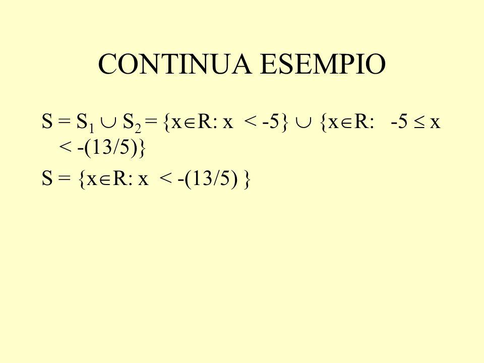 CONTINUA ESEMPIO S = S 1 S 2 = {x R: x < -5} {x R: -5 x < -(13/5)} S = {x R: x < -(13/5) }