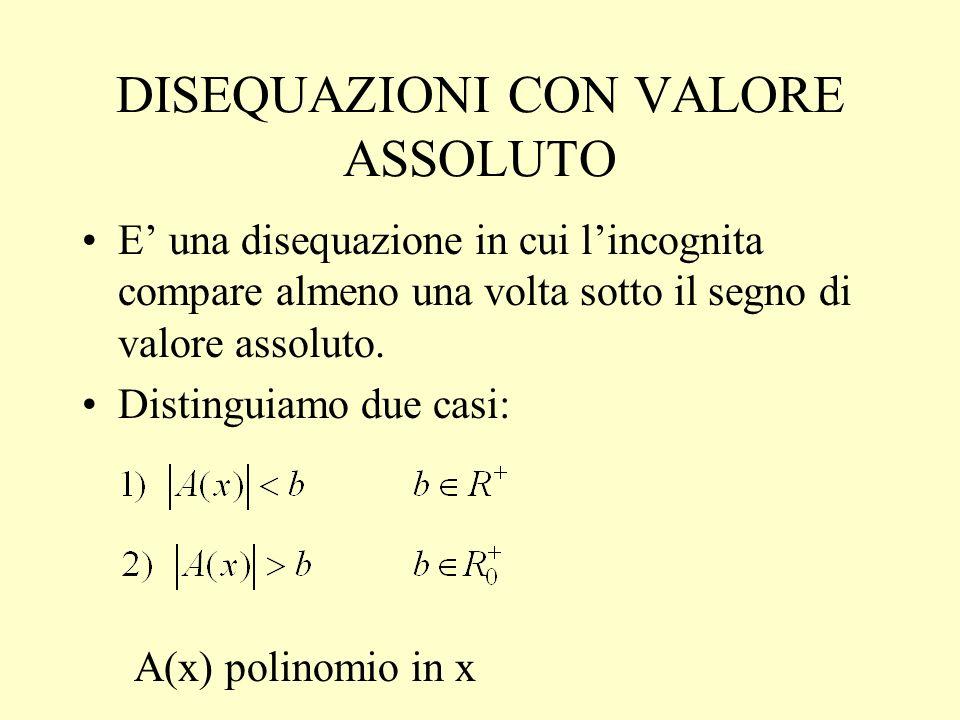 DISEQUAZIONI CON VALORE ASSOLUTO E una disequazione in cui lincognita compare almeno una volta sotto il segno di valore assoluto. Distinguiamo due cas