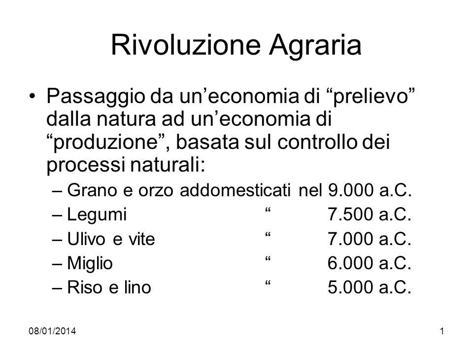 08/01/20141 Rivoluzione Agraria Passaggio da uneconomia di prelievo dalla natura ad uneconomia di produzione, basata sul controllo dei processi natura