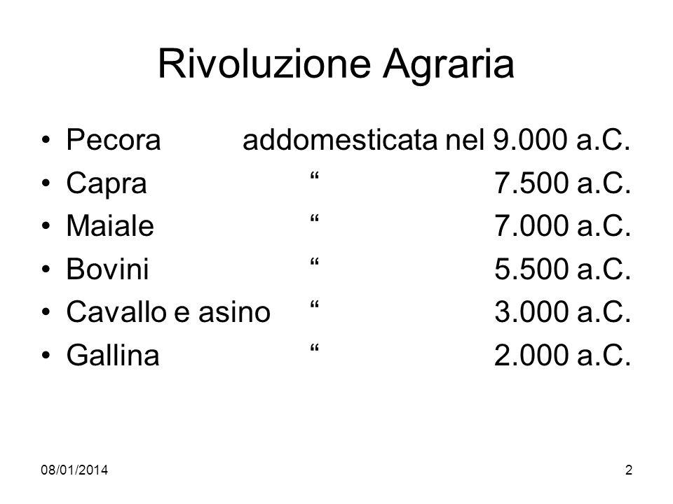 08/01/20142 Rivoluzione Agraria Pecora addomesticata nel 9.000 a.C. Capra 7.500 a.C. Maiale 7.000 a.C. Bovini 5.500 a.C. Cavallo e asino 3.000 a.C. Ga